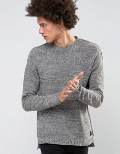 Джемпер с заниженной линией плеч и удлиненной кромкой Only & Sons - Серый