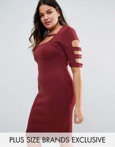 Облегающее платье с решетчатой отделкой Pink Clove - Красный