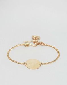 Браслет цвета розового золота с диском Made - Золотой