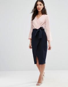 Платье с длинными рукавами и контрастной юбкой с запахом Closet - Мульти