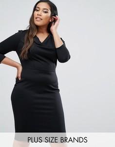Платье с драпированным воротом Goddiva Plus - Черный