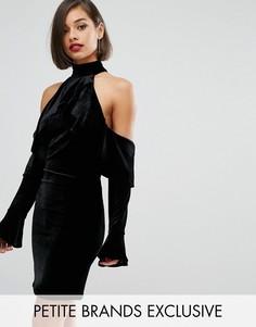 Бархатное платье мини с открытыми плечами и расклешенными рукавами John Zack Petite - Черный