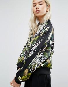 Двусторонняя куртка-пилот с растительным принтом Weekday - Черный