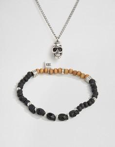 2 предмета - ожерелье с черепом и браслет Icon Brand - Серебряный