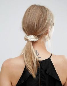 Заколка для волос с большим пером Orelia - Золотой