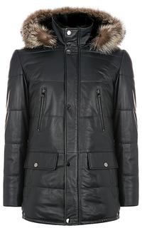 кожаная куртка, утепленная овчиной, с отделкой мехом енота Al Franco