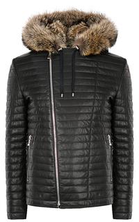 кожаная куртка на подкладе из овчины с отделкой натуральным мехом Vericci