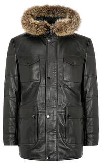 кожаная куртка, утепленная овчиной, с отделкой мехом енота Jorg Weber