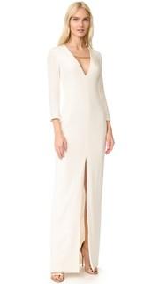 Вечернее платье с длинными рукавами и глубоким вырезом Cushnie Et Ochs