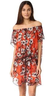 Платье с открытыми плечами и цветочным рисунком Fuzzi