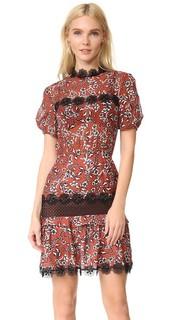 Платье N/Nicholas Sicilian со складками и цветочным рисунком