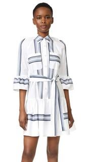Платье-рубашка на пуговицах с оборчатым краем Derek Lam 10 Crosby