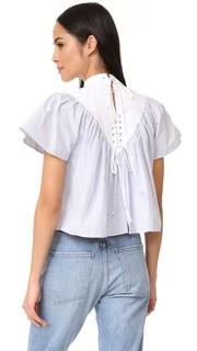 Полосатая хлопковая блуза со шнуровкой Sea