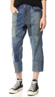 Короткие джинсы в лоскутной технике 6397