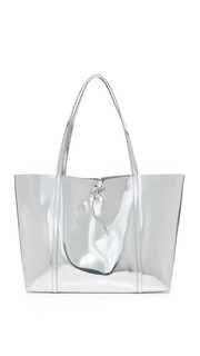 Зеркальная объемная сумка с короткими ручками и завязкой Kara