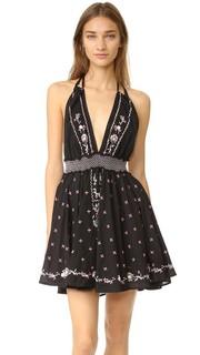 Мини-платье с американской проймой на завязках Loveshackfancy