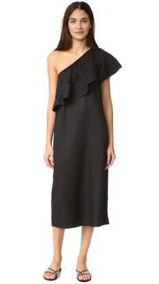 Платье с вышивкой и открытым плечом Mara Hoffman