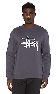 Chain stitch applique crew - Stussy