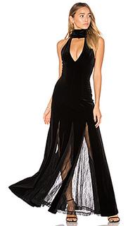 Velvet lace insert gown - NICHOLAS
