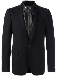 многослойный пиджак с контрастной вставкой Les Hommes