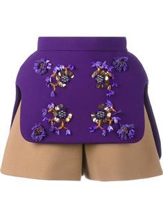 многослойные декорированные шорты  Delpozo
