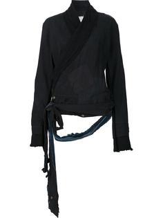 distressed wrap jacket Greg Lauren
