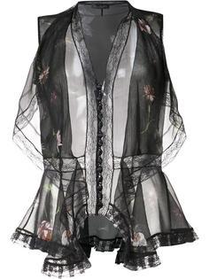 прозрачная блузка с цветочным принтом Alexander McQueen