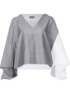 colour block cropped blouse Issey Miyake