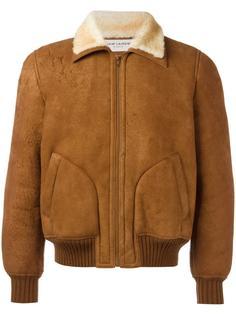 фактурная кожаная укороченная куртка Saint Laurent