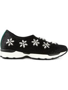 украшенные камнями кроссовки без шнуровки  Philippe Model