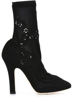туфли с вшитыми носками и цветочными элеменатми Dolce & Gabbana