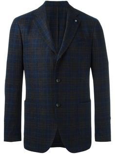 клетчатый пиджак с накладными карманами Lardini