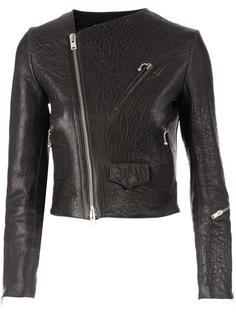 кожаная куртка с потертой отделкой Yang Li