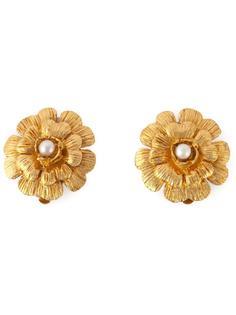 декорированные серьги в виде цветка Chanel Vintage