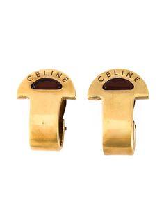 мини-серьги кольцами с логотипом Céline Vintage