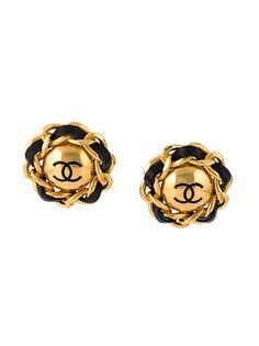 клипсы с логотипом Chanel Vintage
