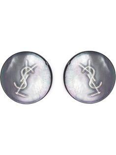 перламутровые клипсы с логотипом Yves Saint Laurent Vintage