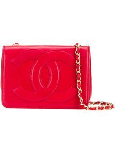 сумка-конверт на плечо с логотипом 'CC' Chanel Vintage