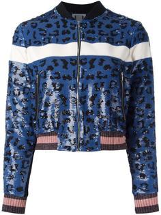 куртка-бомбер с анималистичным рисунком и пайетками Aviù