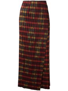 юбка макси с запахом в клетку Issey Miyake Vintage