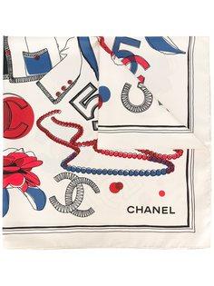 шарф с цветочным принтом Chanel Vintage