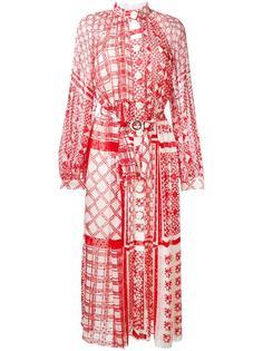 длинное платье с геометрическим узором Fendi