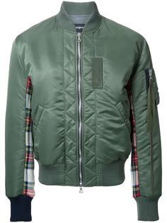 куртка-бомбер с панелями в клетку Clothsurgeon