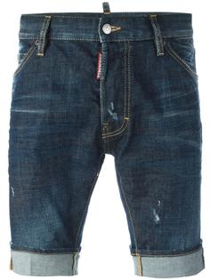 джинсовые шорты с потертой отделкой Dsquared2