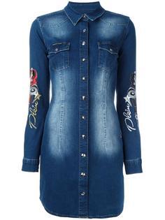джинсовое платье-рубашка с вышивкой Philipp Plein