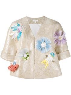 жаккардовый пиджак с цветочной аппликацией Delpozo