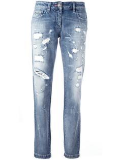 прямые джинсы с рваными деталями Philipp Plein
