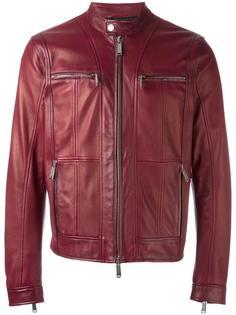 кожаная куртка с панелями на молнии Dsquared2