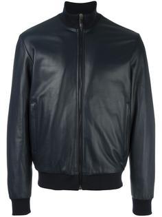 куртка из кожи ягненка на молнии Bikkembergs