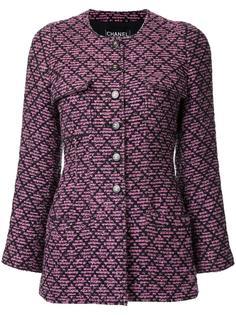 твидовый пиджак без воротника Chanel Vintage